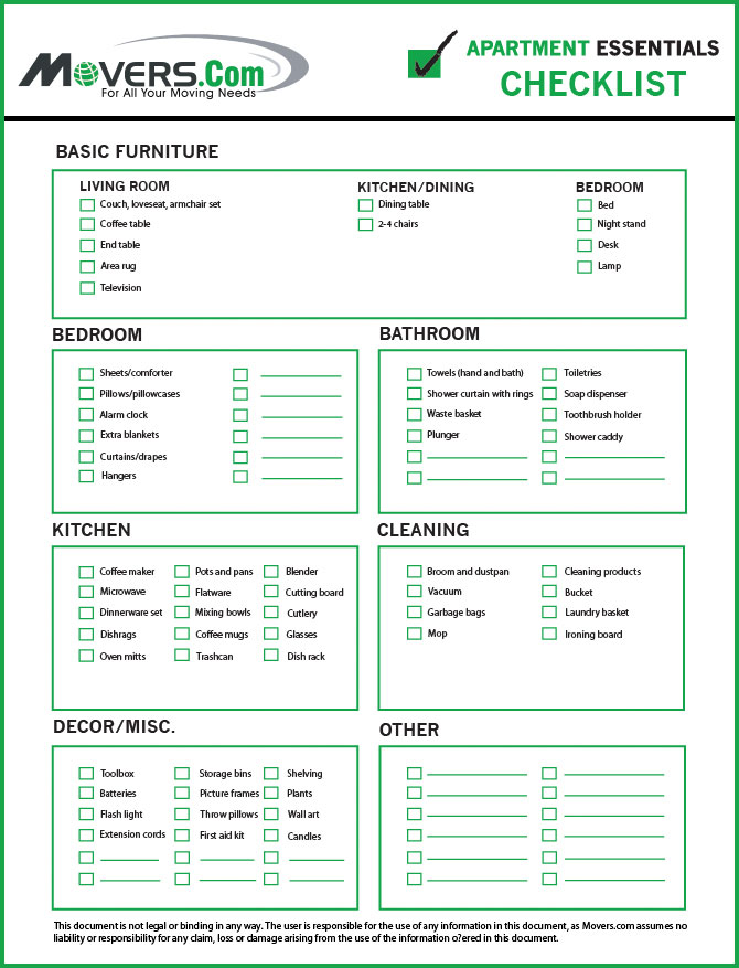 apartment checklist college essentials move inspection out walkthrough template