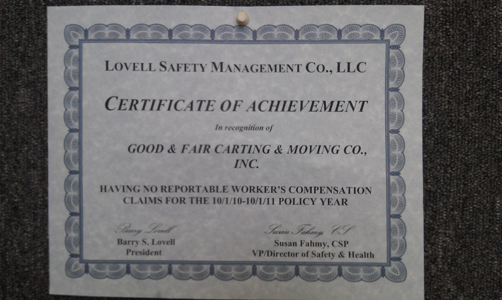 Certificate of Achievement from Lovell Safety Management